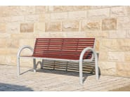 Stainless steel and PET Bench with armrests with back COMFONY 150 | Bench with back - BENKERT BÄNKE