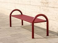 Stainless steel Bench with armrests SIARDO 150 R   Backless Bench - BENKERT BÄNKE