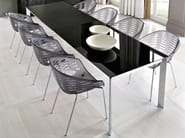Extending dining lacquered steel table