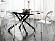 Height-adjustable rectangular glass coffee table