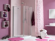 Corner shower cabin with hinged door WEB 2.0 R2B - MEGIUS