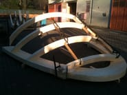 Timber roof structure and timber truss Lamellar wood elements - D.D.F. Curvati Snc di De Luca Denis & Flemi