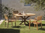 Stackable teak garden chair with armrests AMBRA | Garden chair with armrests - Ethimo