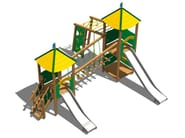 Stainless steel and wood Overhead ladder