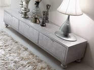 "Wooden sideboard with doors with drawers with wooden feet ""Carrara silver leaf"" sandblasted oak with ""Rococò""- decorated drawers and silver ""Diamond"" handles"