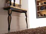 Glossy black Iron frame - sandblasted oak marquinia gold leaf top and legs cat. F