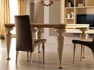 Dining square table - Biancomiele - top legno con vetro incassato foglia oro