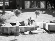 Teak garden armchair with armrests