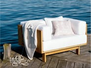 Teak garden armchair with armrests