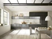 Linear kitchen with integrated handles - Timeline legno charcoal grey-acciaio