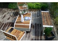Steel and wood chair with armrests MARIN | Steel and wood chair - Lgtek Outdoor