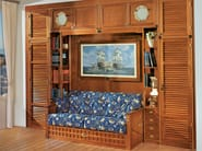 Fitted wooden bedroom set with bridge wardrobe 601 | Sectional walk-in wardrobe - Caroti