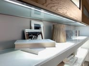 Wall-mounted wooden storage wall GALLERY   Storage wall - Cucine Lube