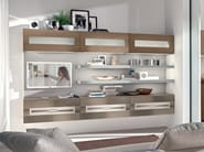 Wall-mounted wooden storage wall GALLERY | Storage wall - Cucine Lube