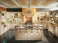 Kitchen with island with handles