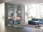 Open freestanding double-sided crystal bookcase LIBER A - T.D. Tonelli Design