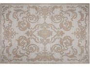 Handmade rectangular custom silk rug CARDINAL SILVER - EDITION BOUGAINVILLE