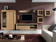 Oak wall cabinet with glass door OMEGA - Domus Arte