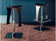 Swivel height-adjustable tanned leather stool OLÈ! - Esedra by Prospettive
