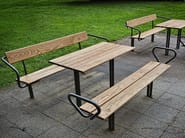 Steel and wood Bench with back BUDGET | Bench - Nola Industrier