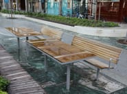 Steel and wood Bench with back PARCO | Steel and wood Bench - Nola Industrier