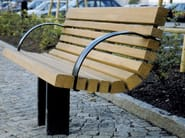 Steel and wood Bench with back SAKURA | Bench - Nola Industrier