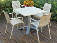 Stackable technopolymer chair with armrests OPEN - GABER