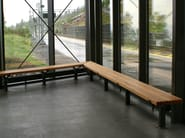 Backless steel and wood bench seating LUMA   Backless Bench - Nola Industrier