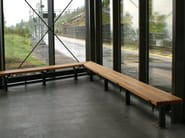 Backless steel and wood bench seating LUMA | Backless Bench - Nola Industrier