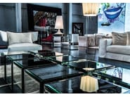 Low square mirrored glass coffee table RIFLESSO - ERBA ITALIA