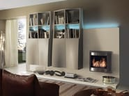 Wall-mounted storage wall with fireplace with integrated lighting LALTROGIORNO 803 - TUMIDEI