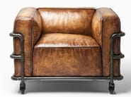 Leather armchair with armrests with casters QUATTRO - KARE-DESIGN