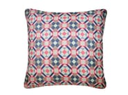 Square silk cushion RUBIK PRINTED SILK NAVY PINK - Nitin Goyal London