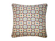 Square silk cushion RUBIK PRINTED SILK WARM TEAL - Nitin Goyal London