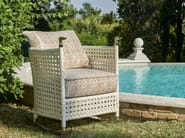 Rocking rattan armchair with removable cover SHAULA | Rocking armchair - Samuele Mazza Outdoor Collection by DFN