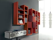 Wall-mounted lacquered floating bookcase SIDE 17 - Fimar