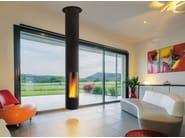 Wood-burning central hanging fireplace SLIMFOCUS - Focus creation