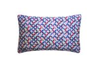 Rectangular silk cushion SMALL CHEVRON PRINTED SILK PINK BLUE - Nitin Goyal London
