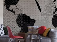 Panoramic wallpaper with textile effect STRANGE WORLD - Inkiostro Bianco
