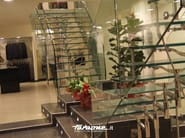 Glass and Stainless Steel Spiral staircase TITANIA - FARAONE