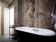 Damask panoramic wallpaper with textile effect TOILE DE JOUY 02 - Inkiostro Bianco