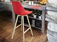 Wooden counter stool with footrest X STOOL | Counter stool - ALMA DESIGN
