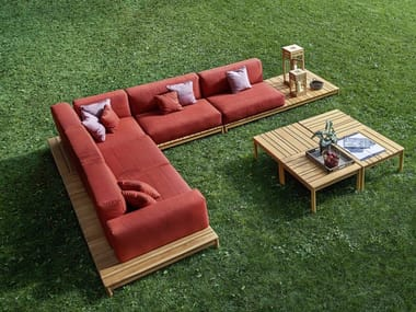 Sofá composable de esquina para jardín BARCODE | Sofá composable