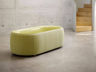 Freestanding enamelled steel bathtub clothed with fabric BETTELUX OVAL COUTURE | Bathtub