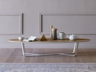 Low powder coated steel coffee table BINO | Oval coffee table