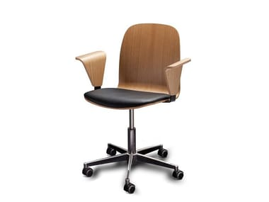 Wood veneer task chair with 5-Spoke base with casters BOSTON OFFICE