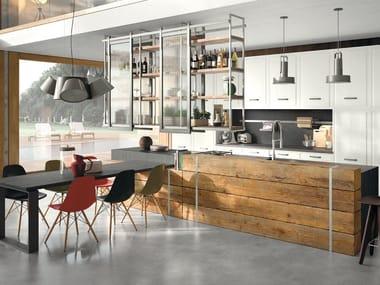 Cucina componibile in stile moderno con isola con maniglie Brera 76 - Composizione 2