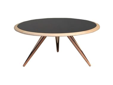 Low round wooden coffee table CARAMBOLA | Low coffee table