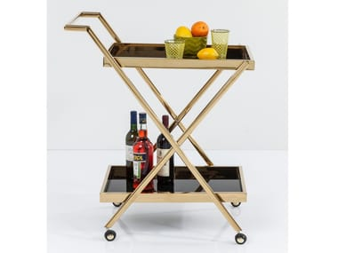 Glass and Stainless Steel food trolley CASINO GOLD