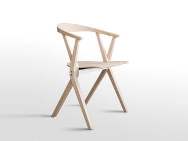 Sedia pieghevole in legno con braccioli CHAIR B | Sedia in legno